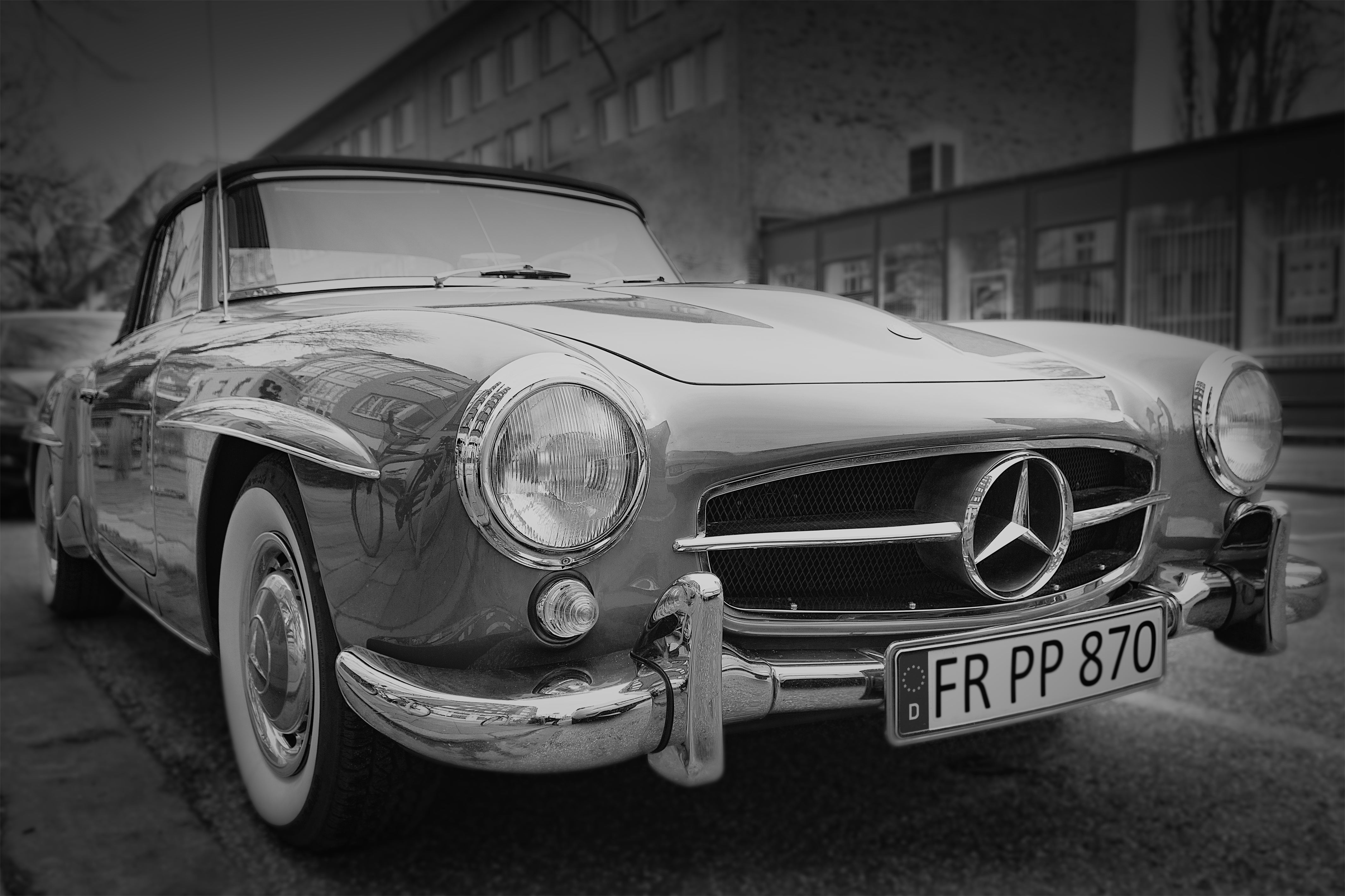 Grayscale Photography Of Classic Mercedes Benz Car Free Stock Photo