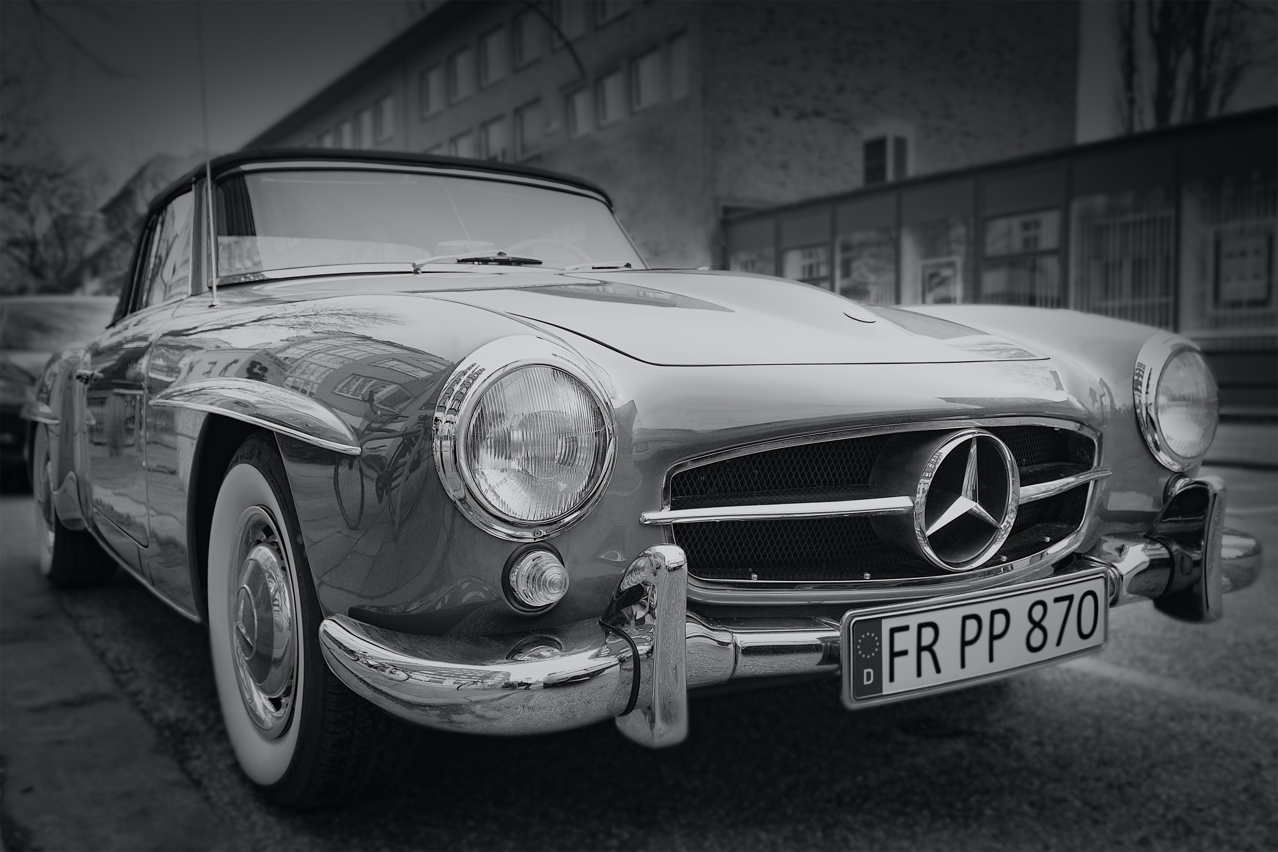 Grayscale photography of classic mercedes benz car · free stock photo