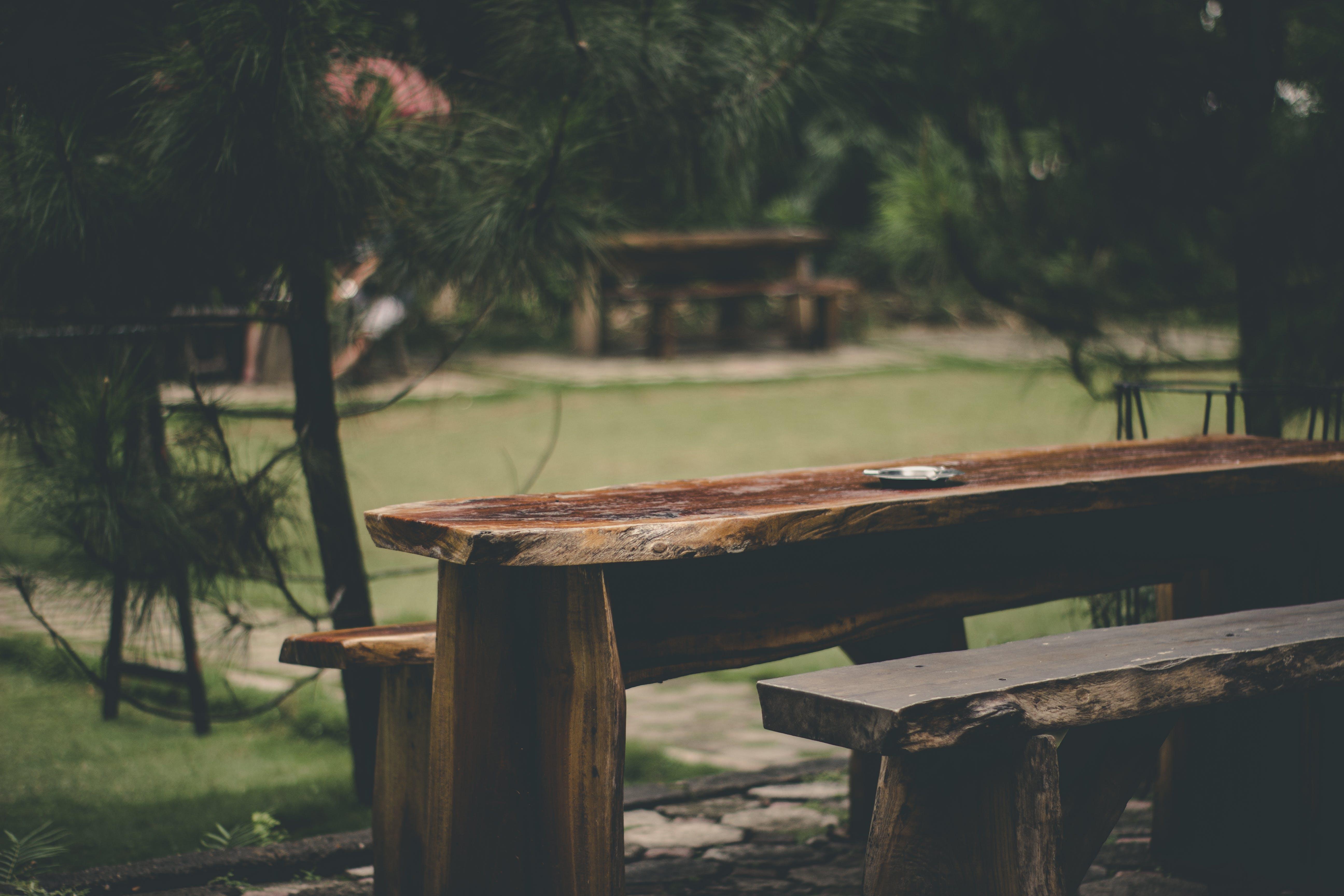 Gray Ashtray on Brown Wood Slab Table