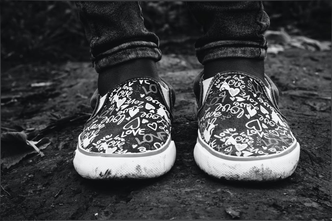 Grayscale Photography of Shoes