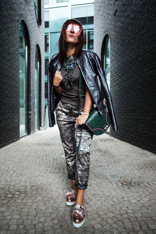 Woman Wearing Gray Shirt and Pants