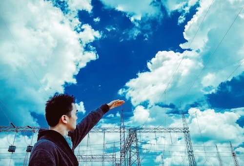 Free stock photo of boy, sky, substation