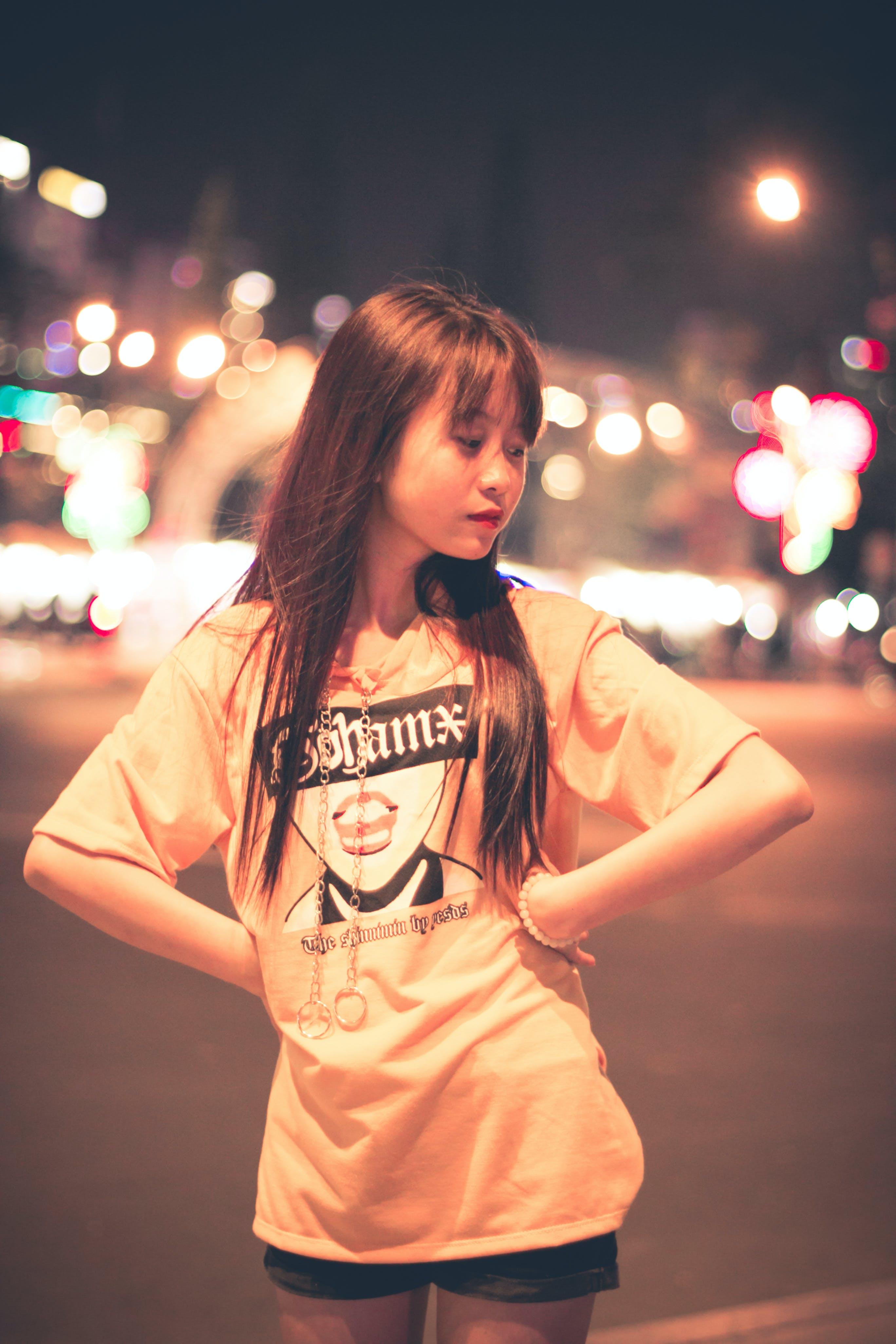 Woman Wears Orange Short-sleeved Shirt