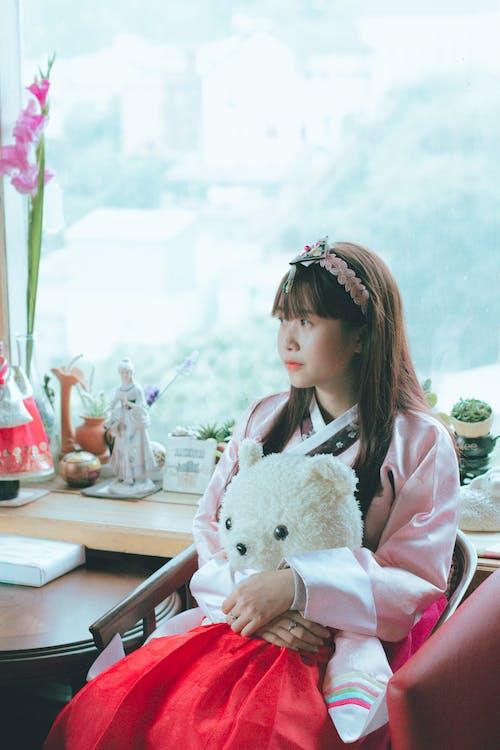 Woman Pink Kimono Dress