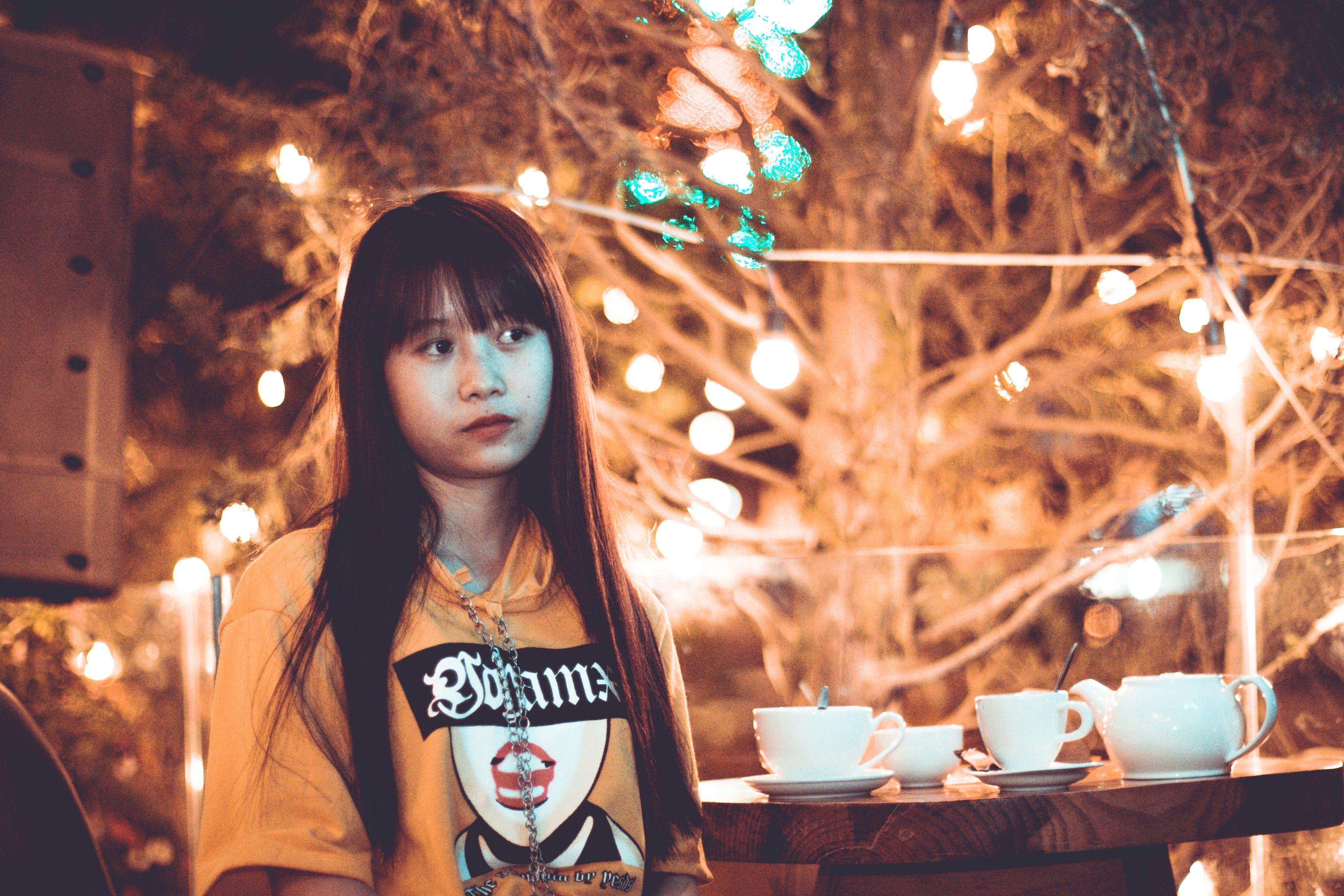 Woman Near Coffee Table