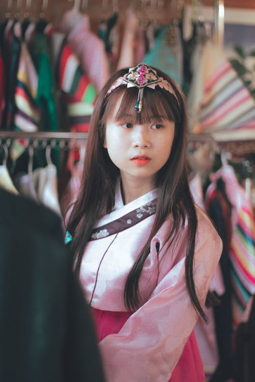 Girl Wearing Hanbok Dress