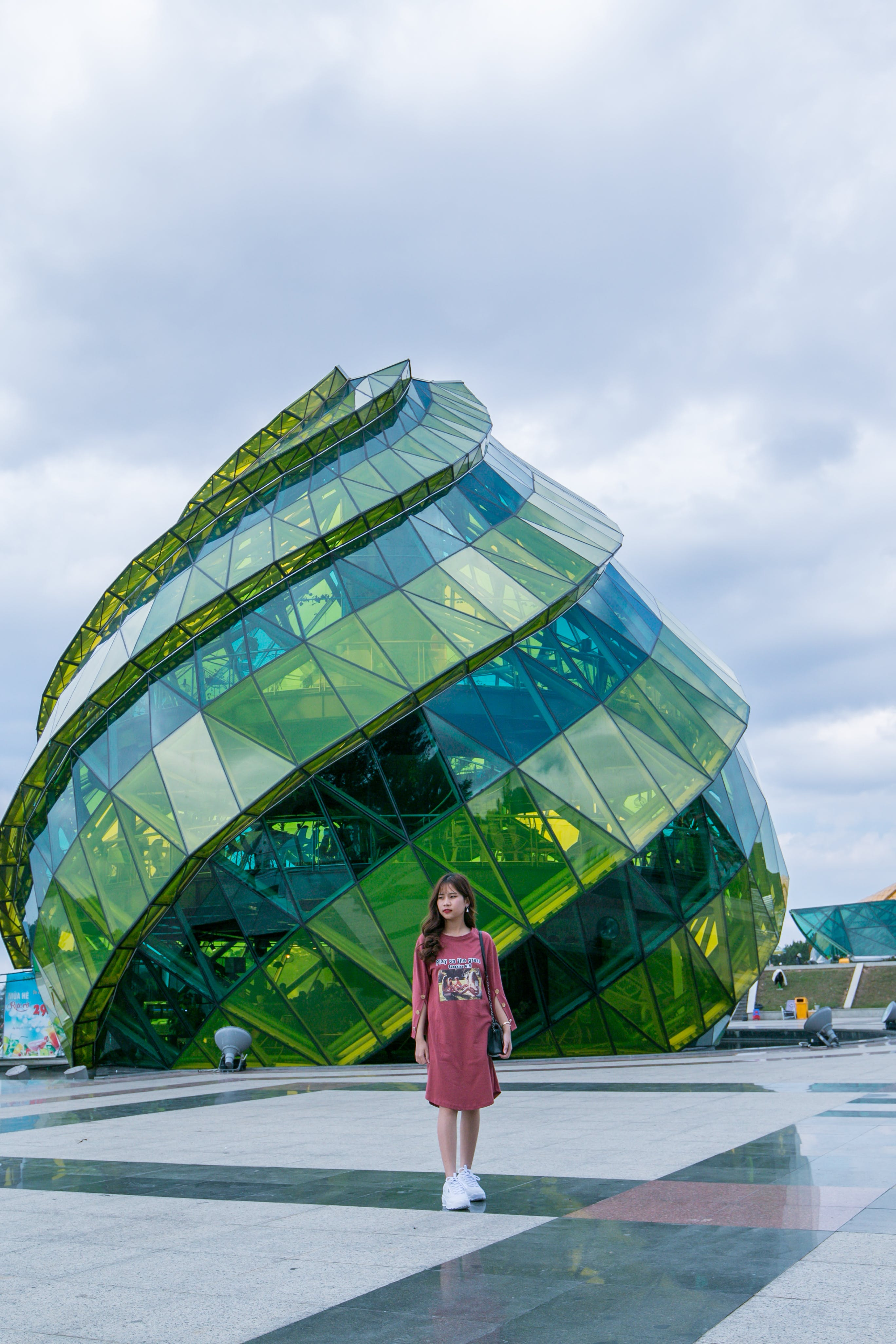 Green and Teal Glass Dome Building