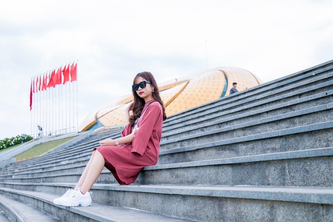 Women's Red Long-sleeved Dress