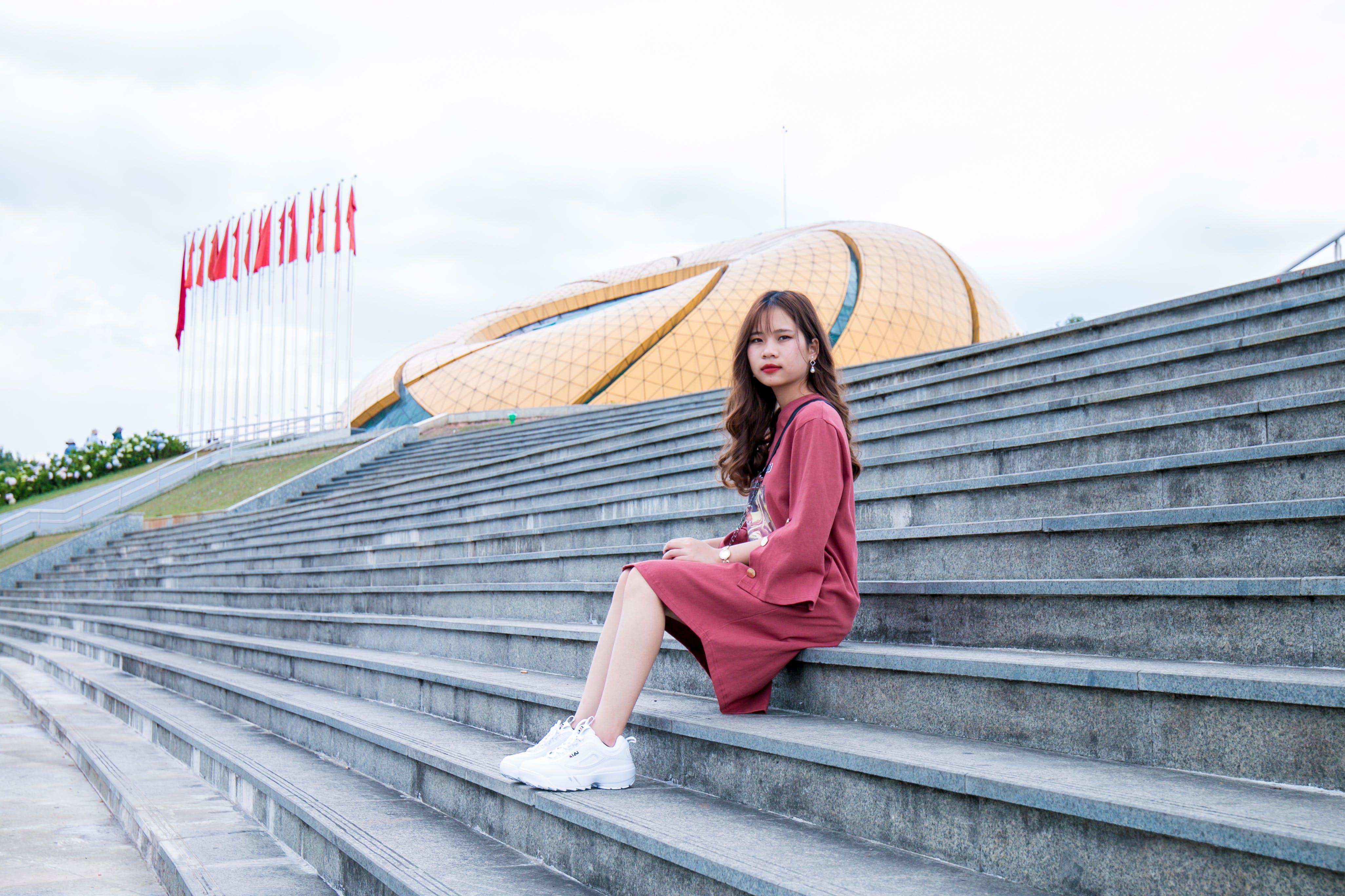 asiatisk kvinna, asiatisk tjej, avslappning
