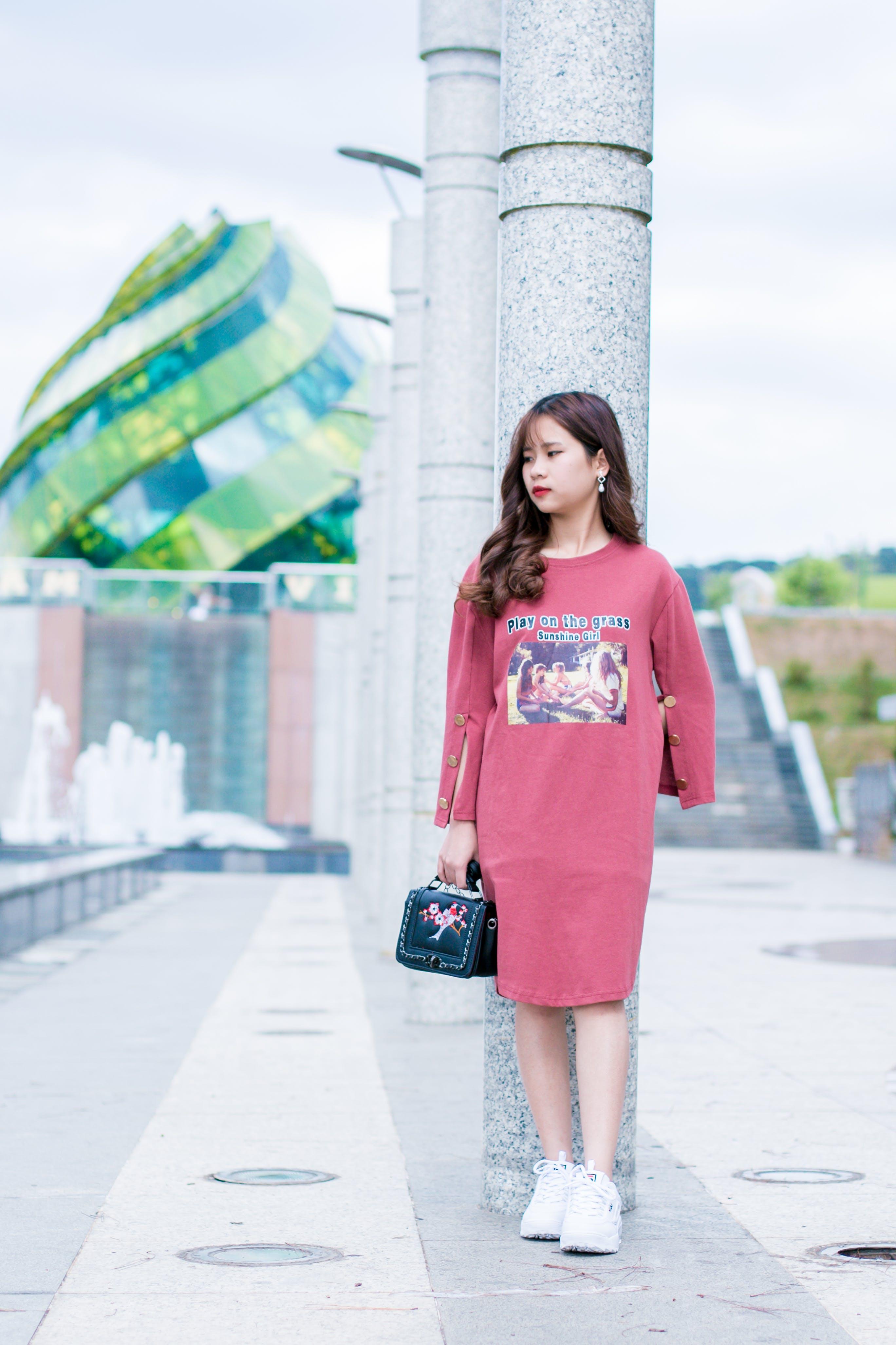 Woman Wearing Pink Crew-neck Long-sleeved T-shirt Dress