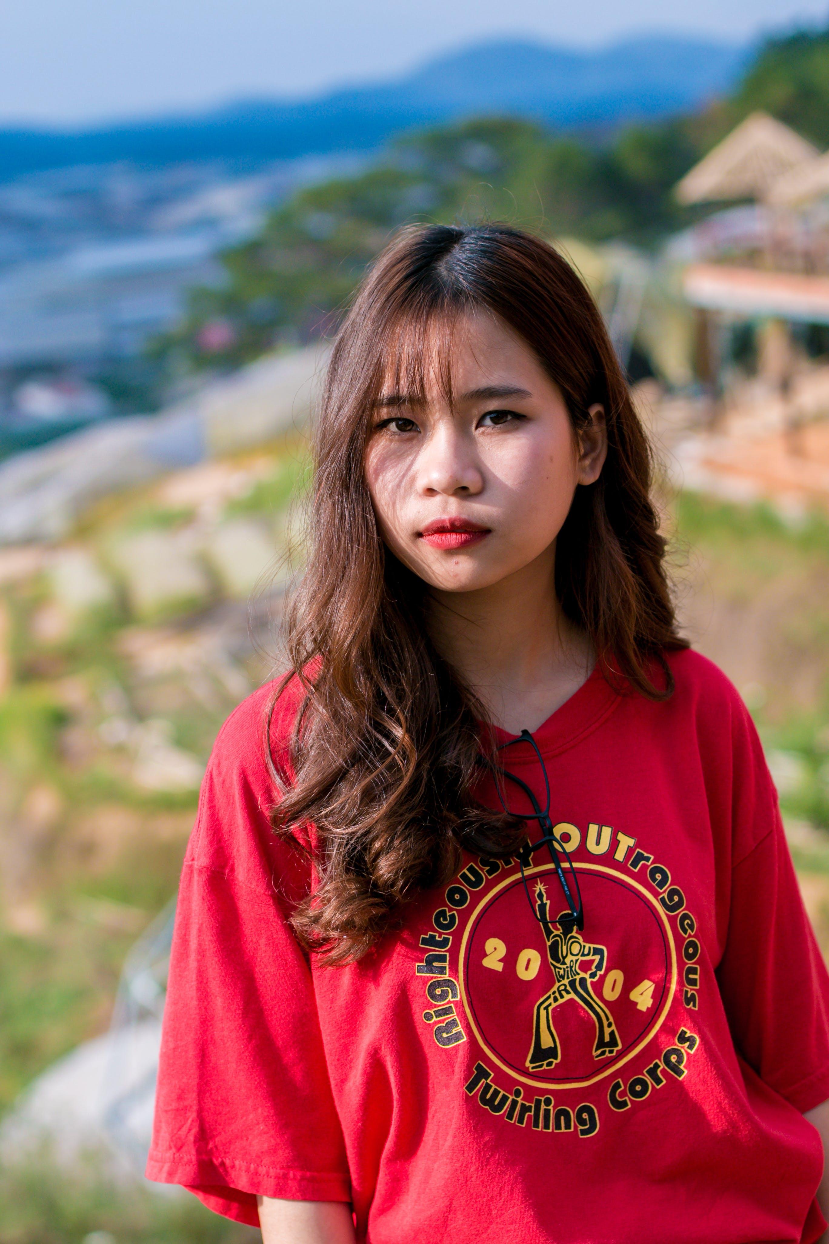 Women's Red Crew-neck T-shirt
