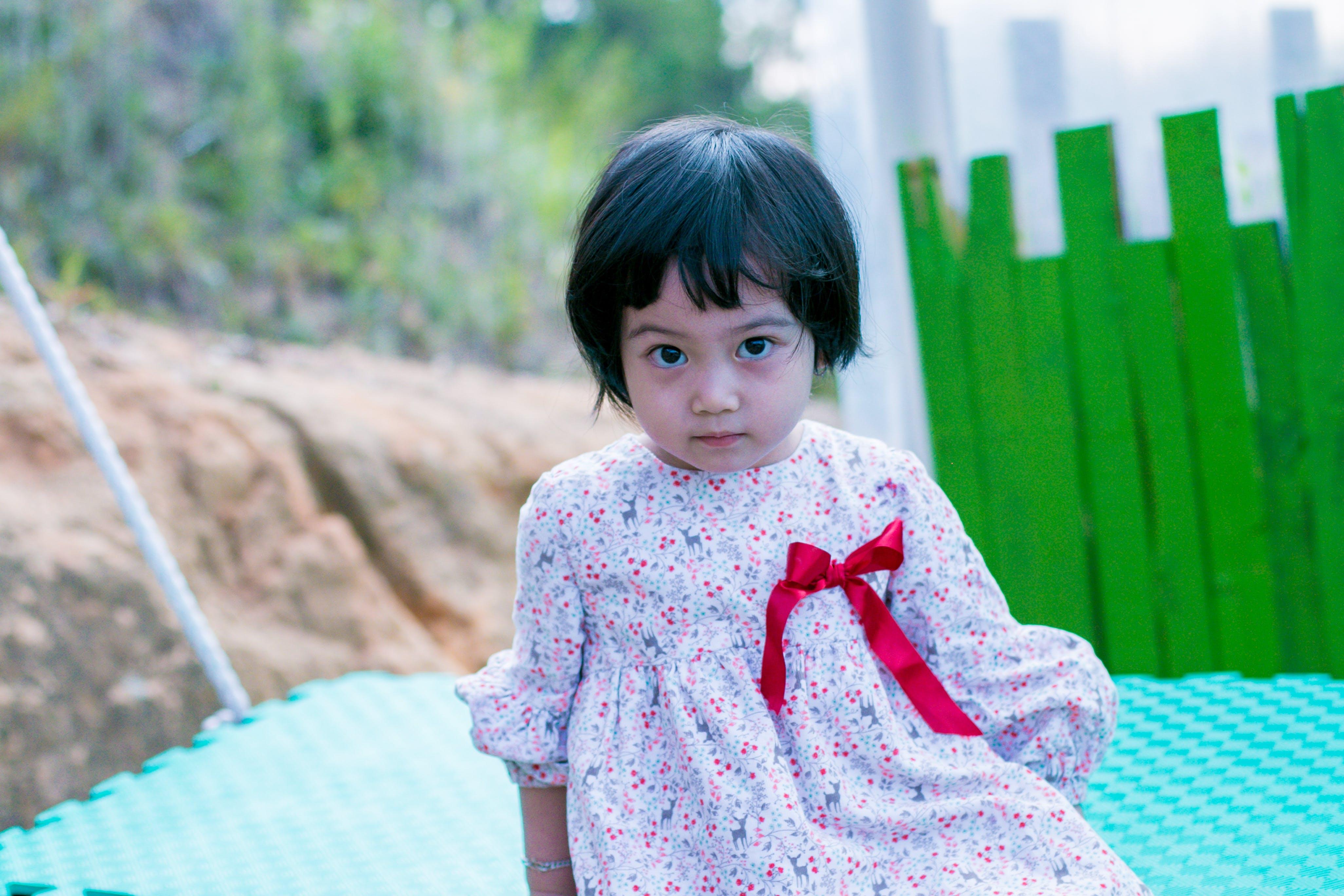 Toddler's Gray Floral Dress