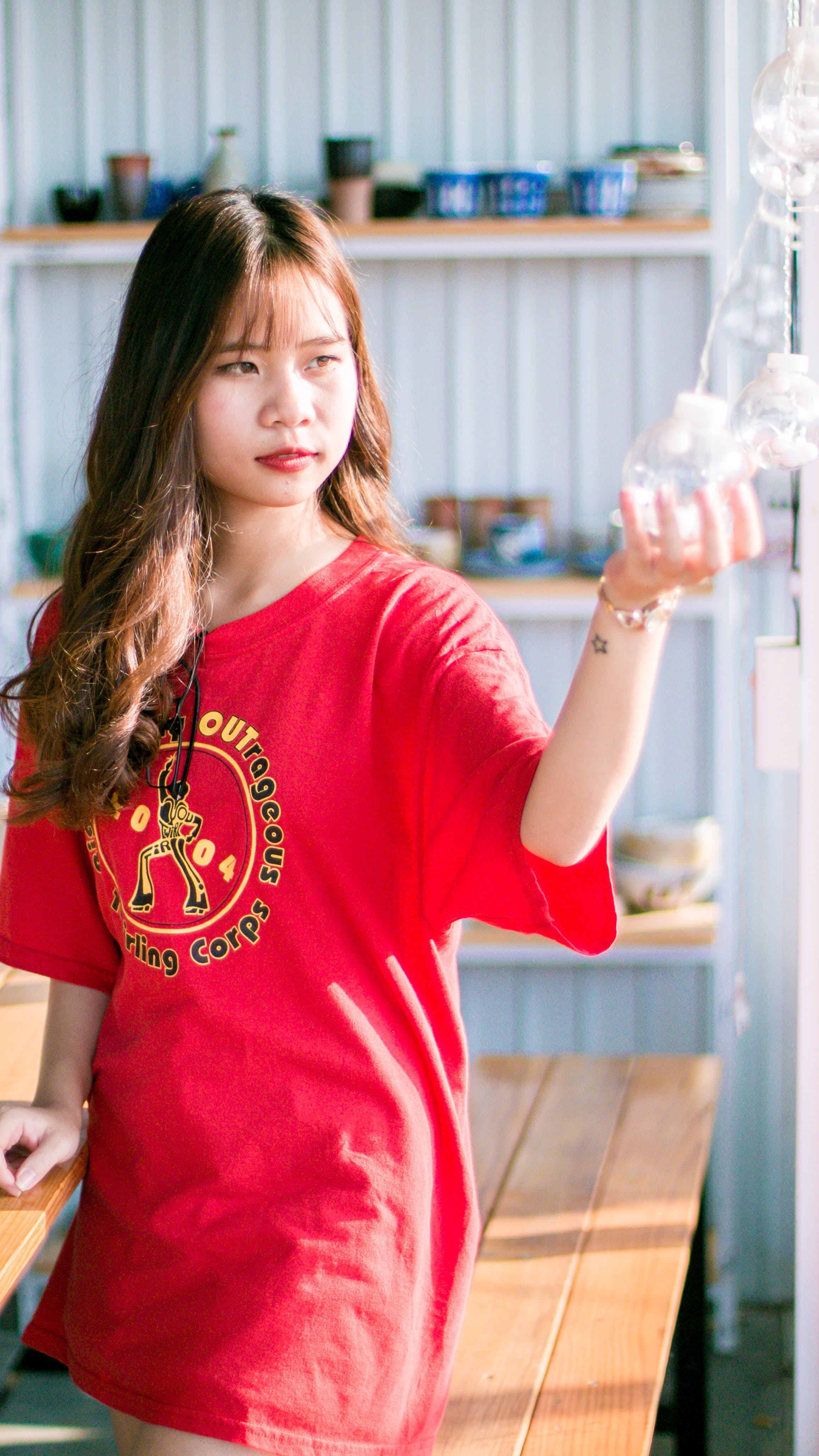 Woman Wearing Red Crew-neck Shirt