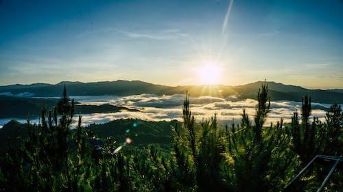 Бесплатное стоковое фото с вспышка, гора, зеленый, море облаков