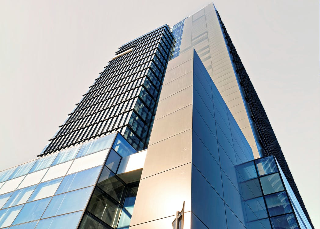 arkitektur, betong, blå