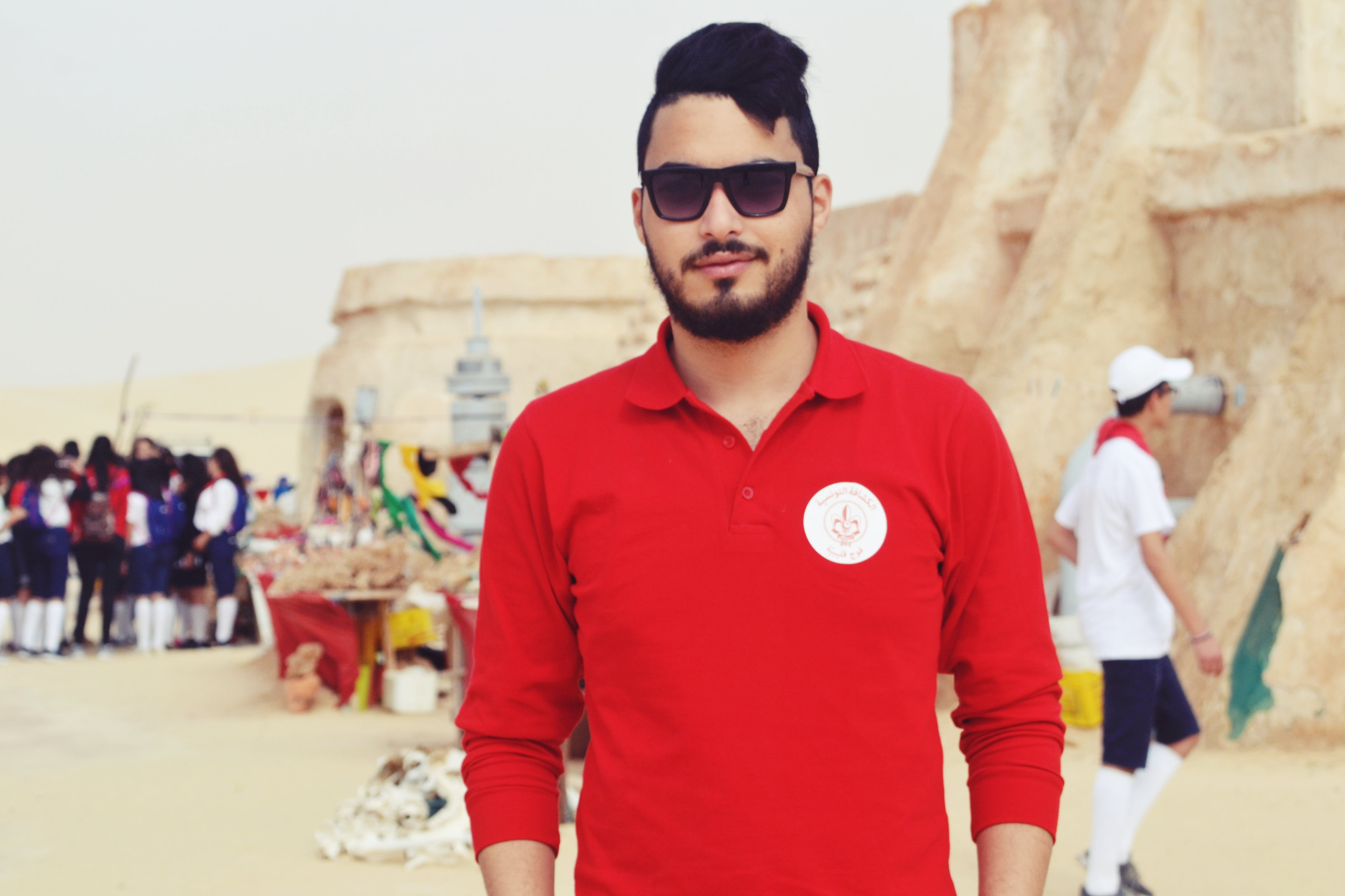 Man Wearing Red Long-sleeved Polo Shirt