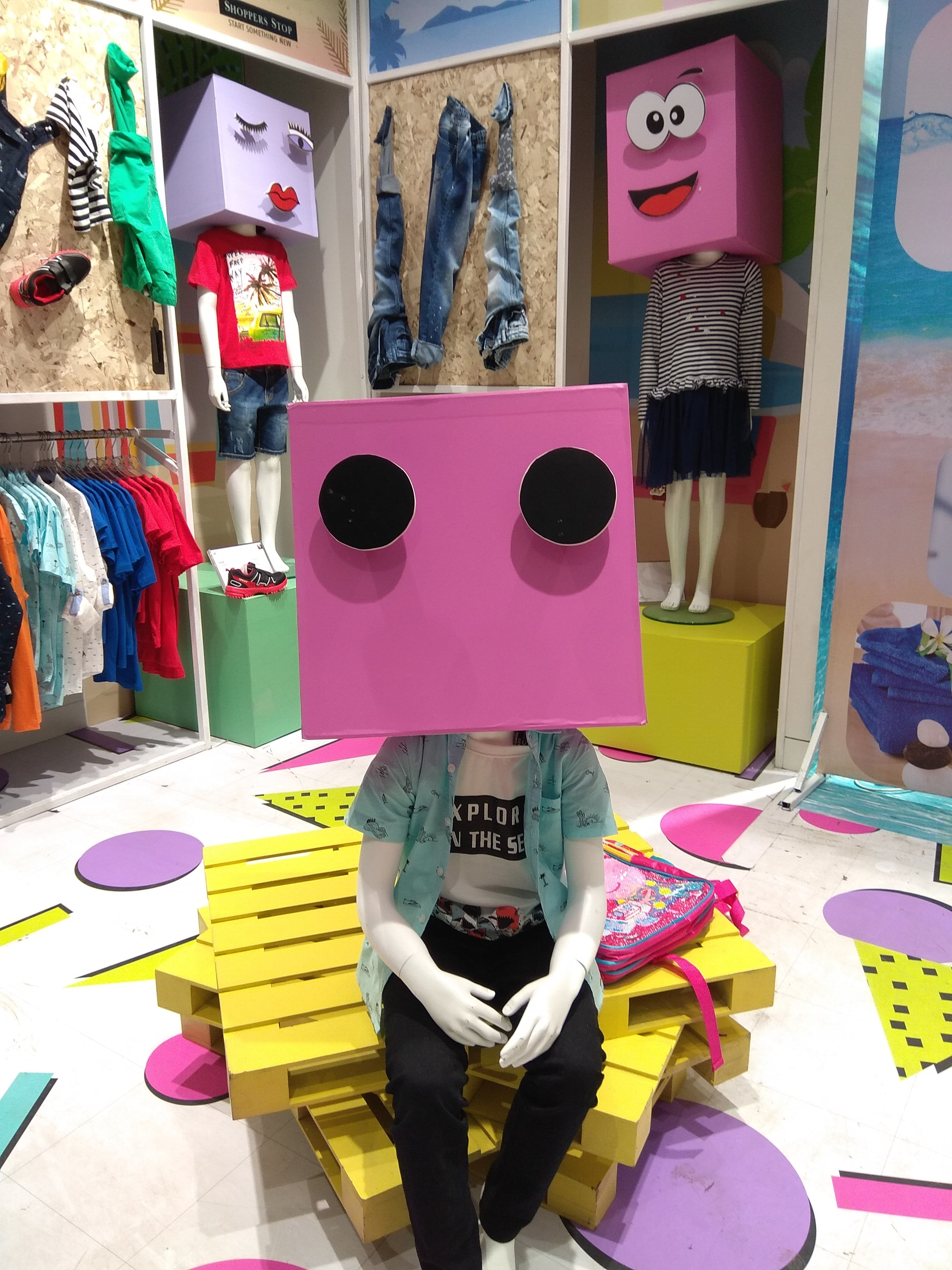 Mannequin Wearing Pink Box