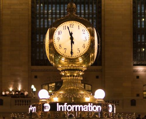 Gold Station Clock at 11:30