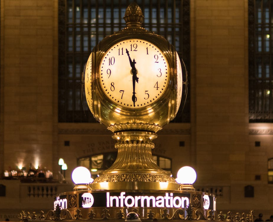 Gold Station Clock at 11:30