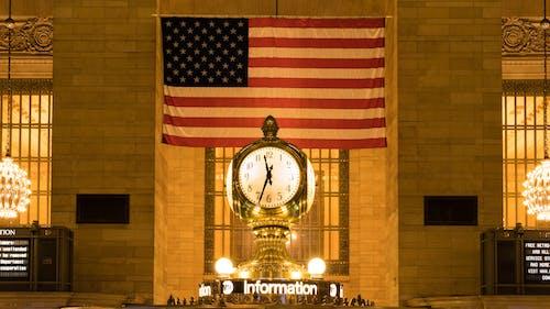 Základová fotografie zdarma na téma Americká vlajka, architektura, budova, čas