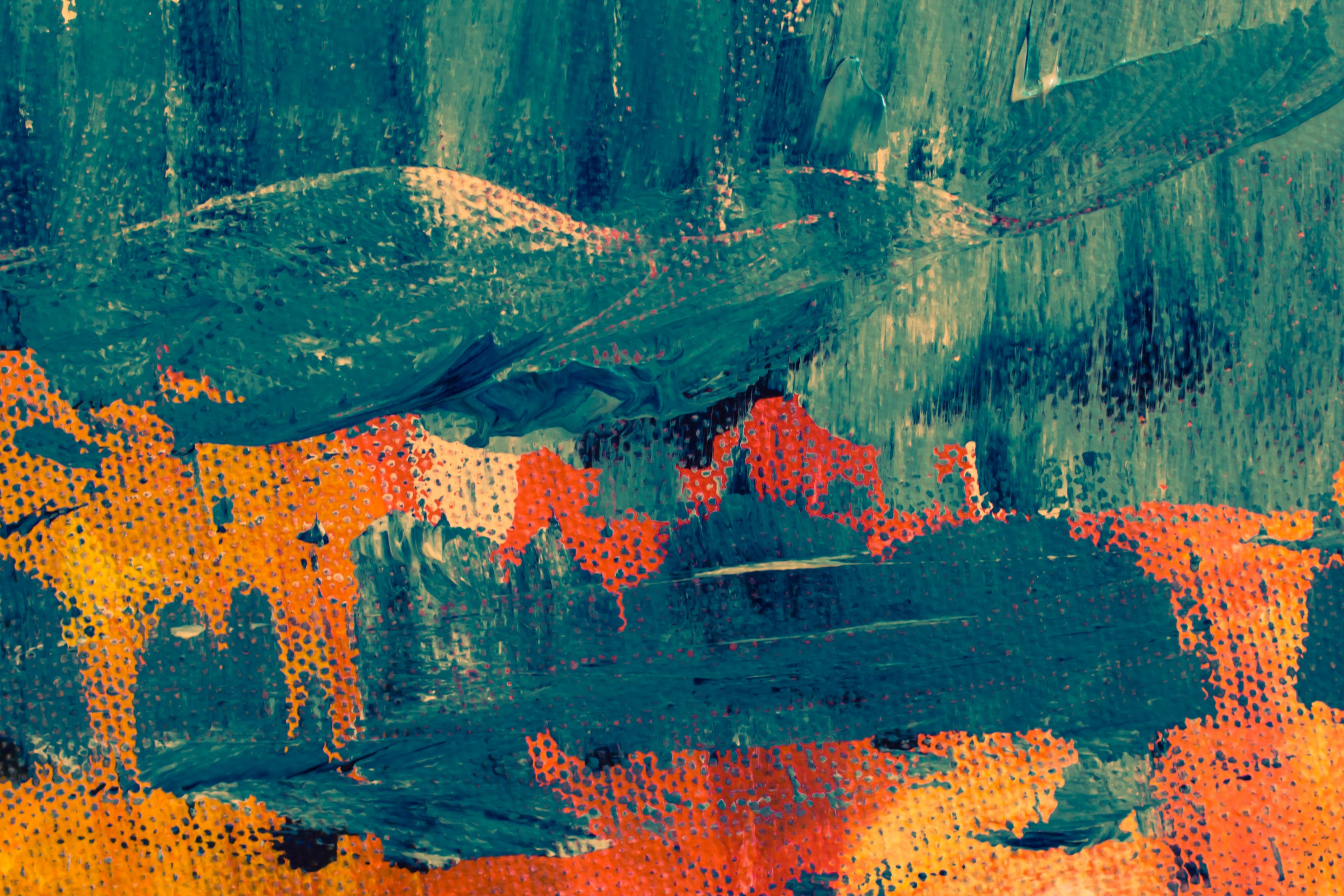 Teal and Orange Abstract Painting