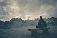 landscape, mountains, person