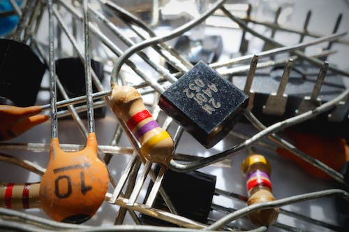 Free stock photo of capacitor, components, electrical components, electronics