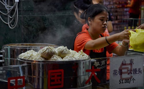 Free stock photo of buns, chinatown, stall, street