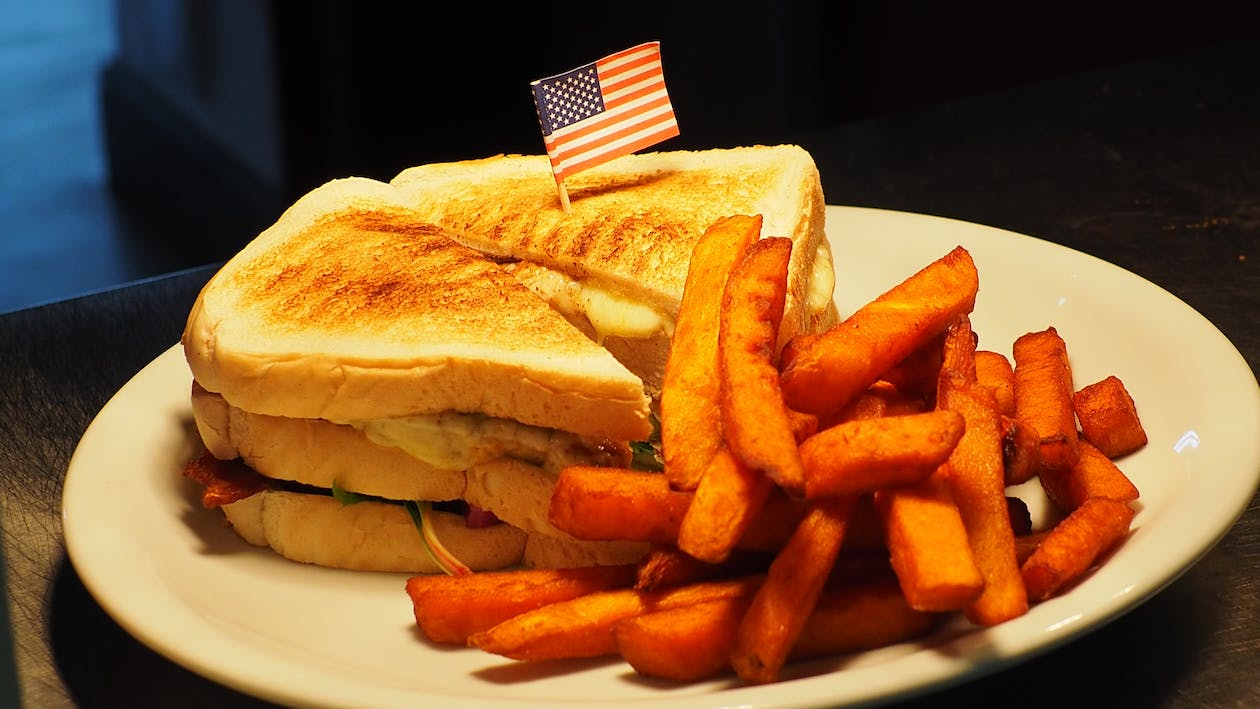 French Fries and Sandwich on White Plate