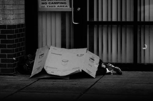 Photos gratuites de carton, citadin, individu, noir et blanc