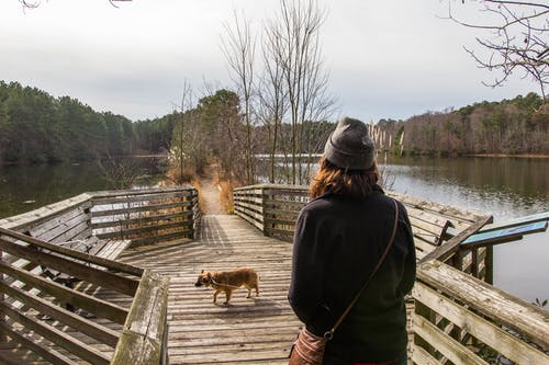 Woman Walking on Dock With Dog