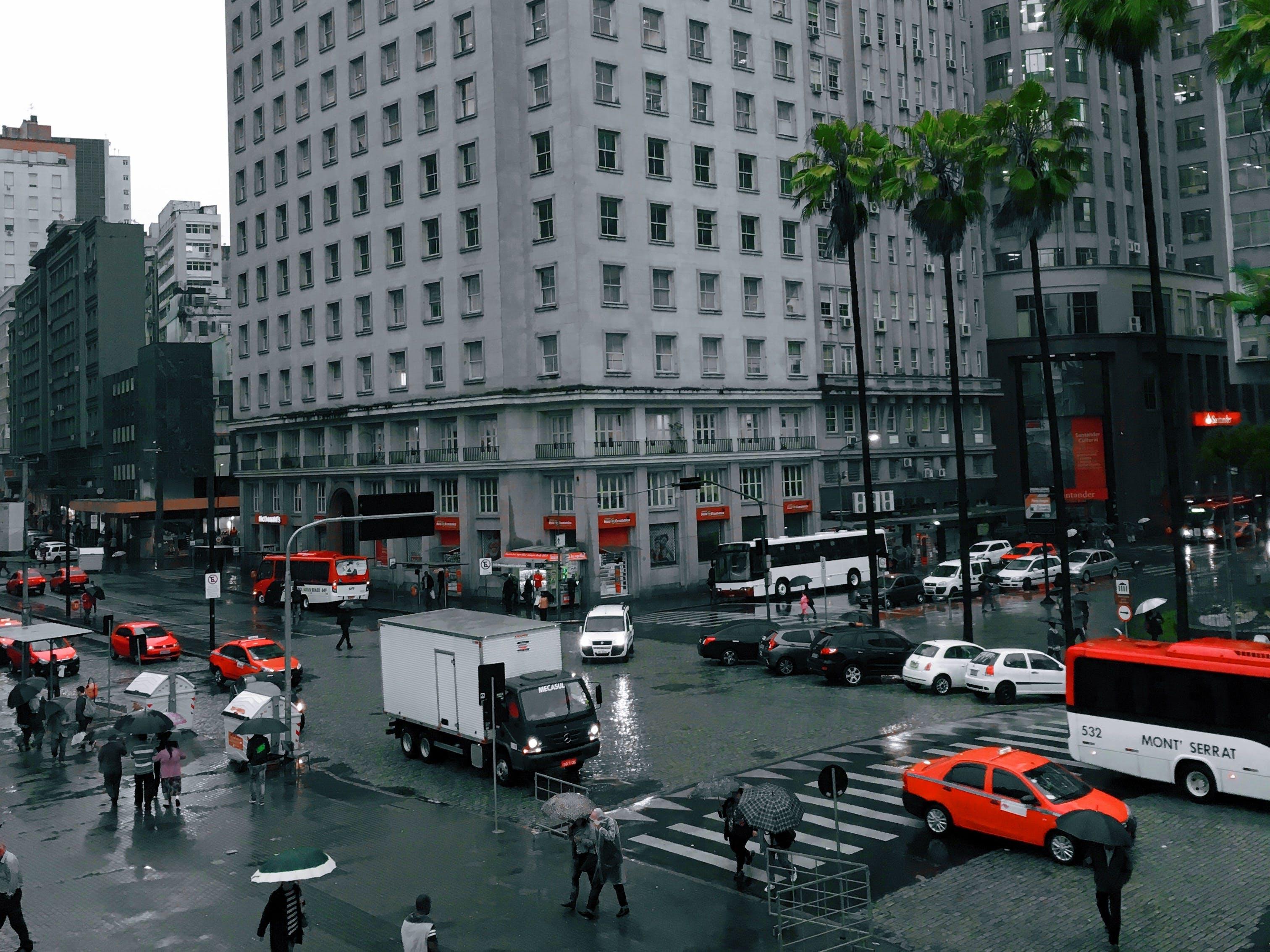 Free stock photo of building, car, orange, people