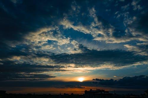 cloudscape, オレンジ色, 夏, 夜の無料の写真素材