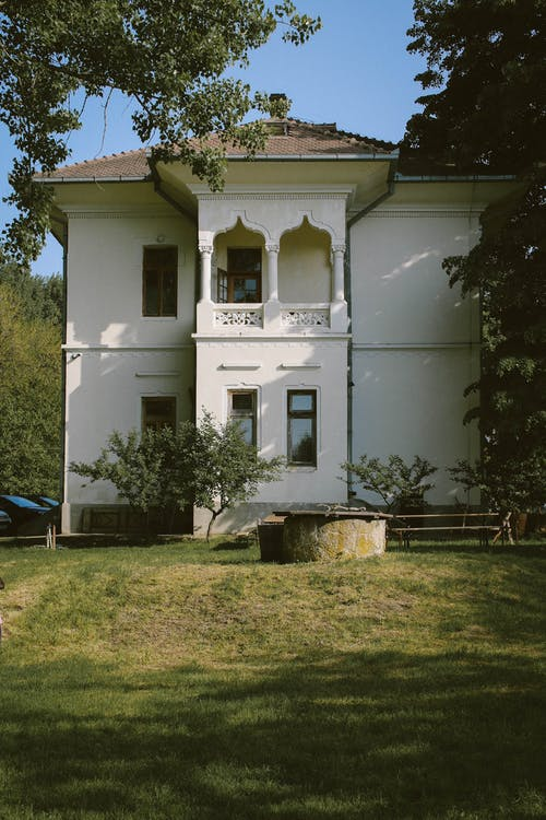 architektura, balkon, biały