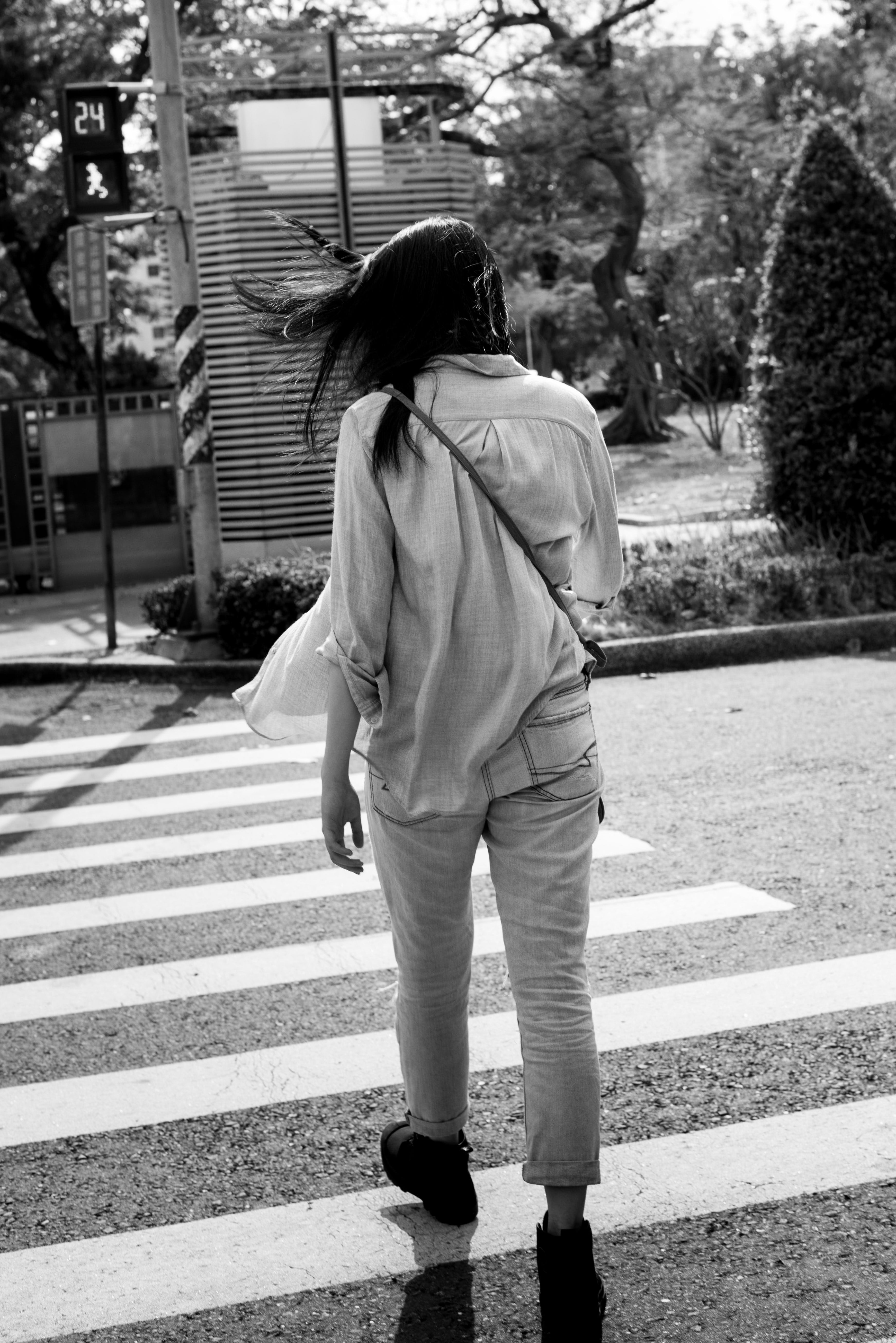 Free stock photo of back, black and white, female, person
