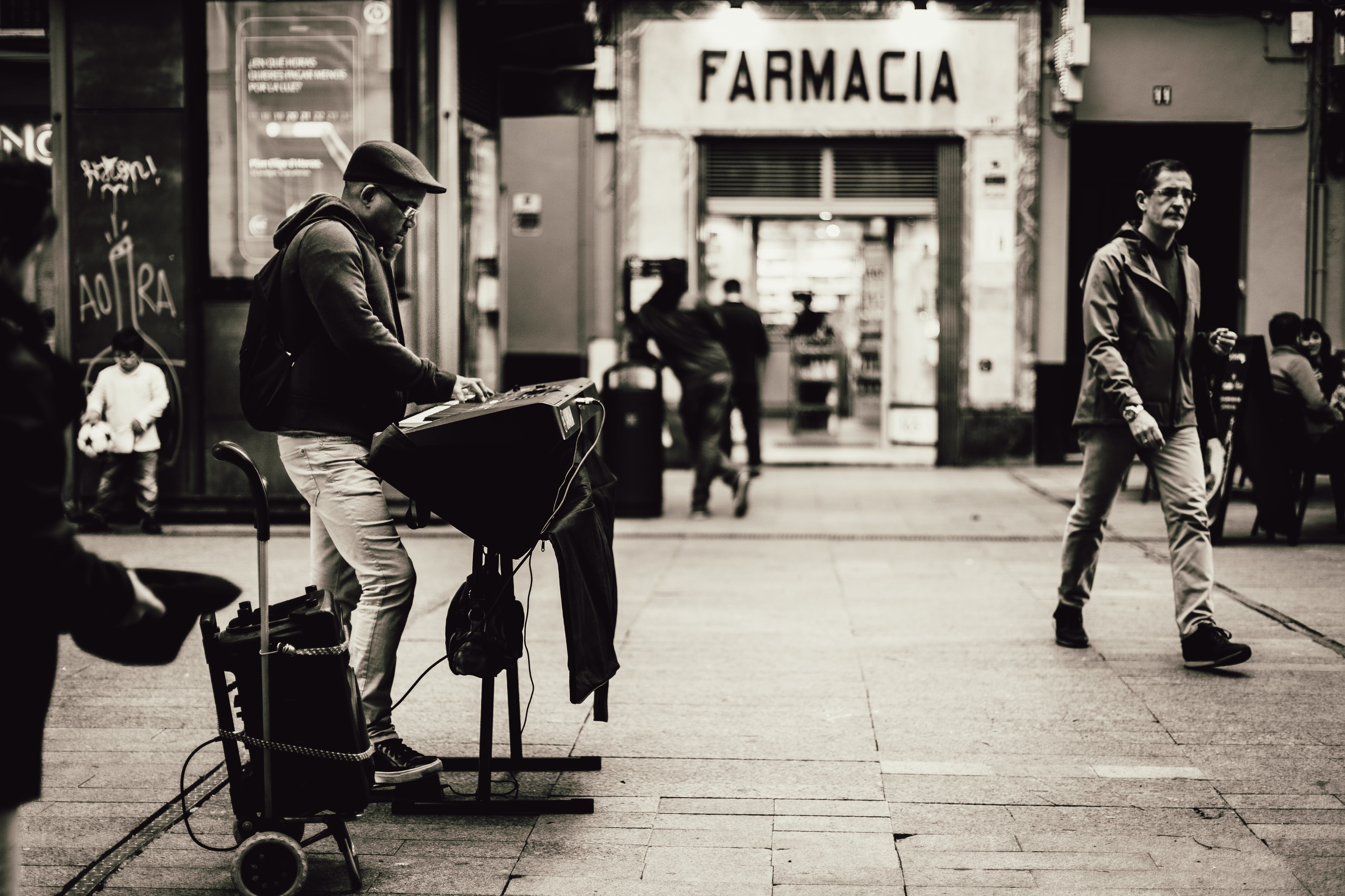 Grayscale Photography of Farmacia Store Front