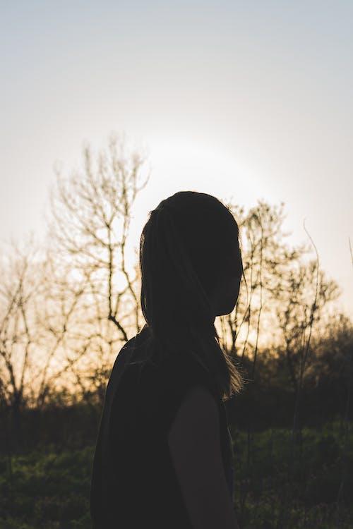 Schattenbild Der Frau Während Des Sonnenuntergangs