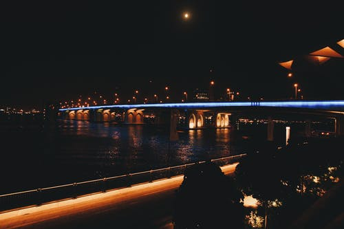 Architectural Photography of Bridge during Nighttime