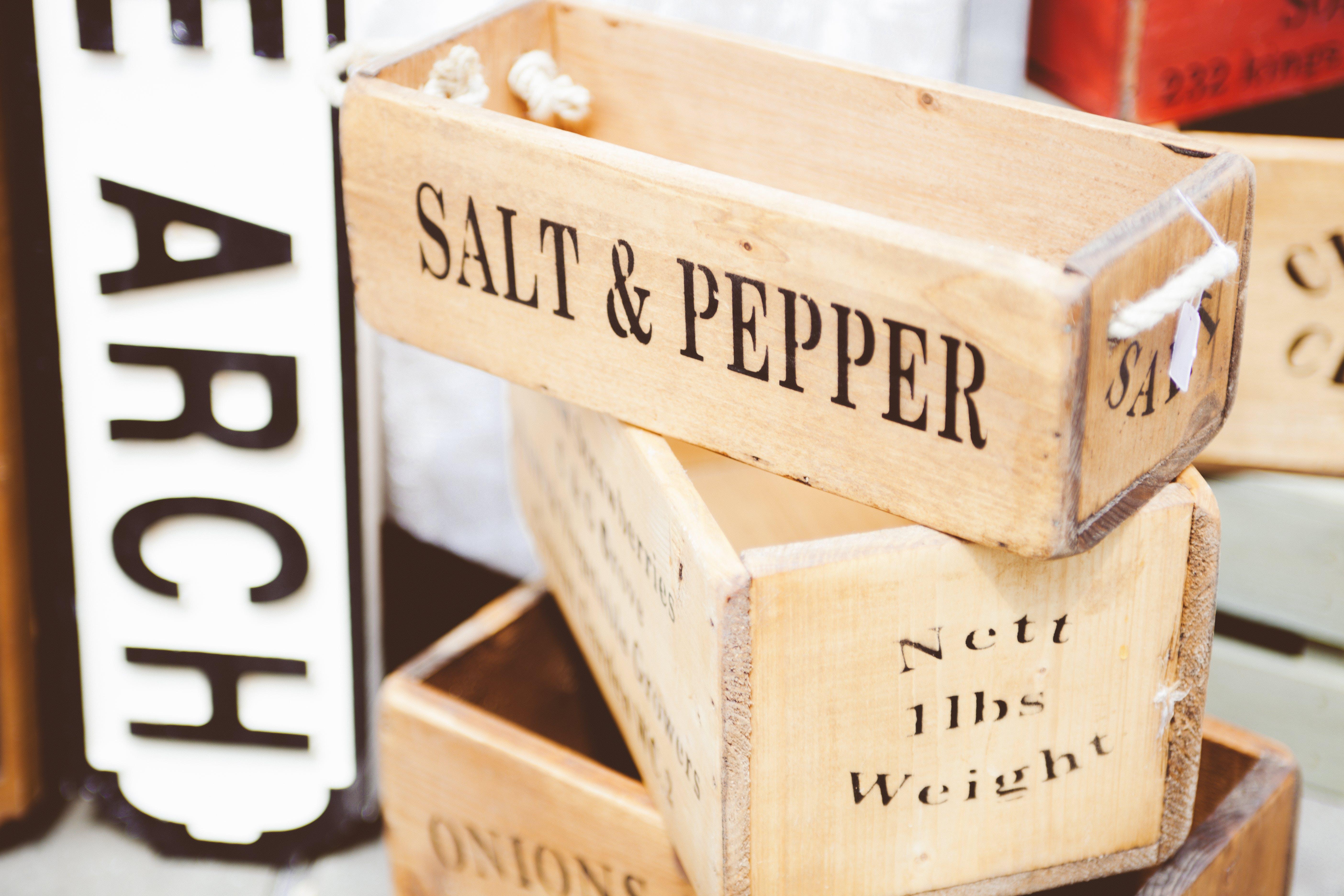 Beige Wooden Salt & Pepper Container