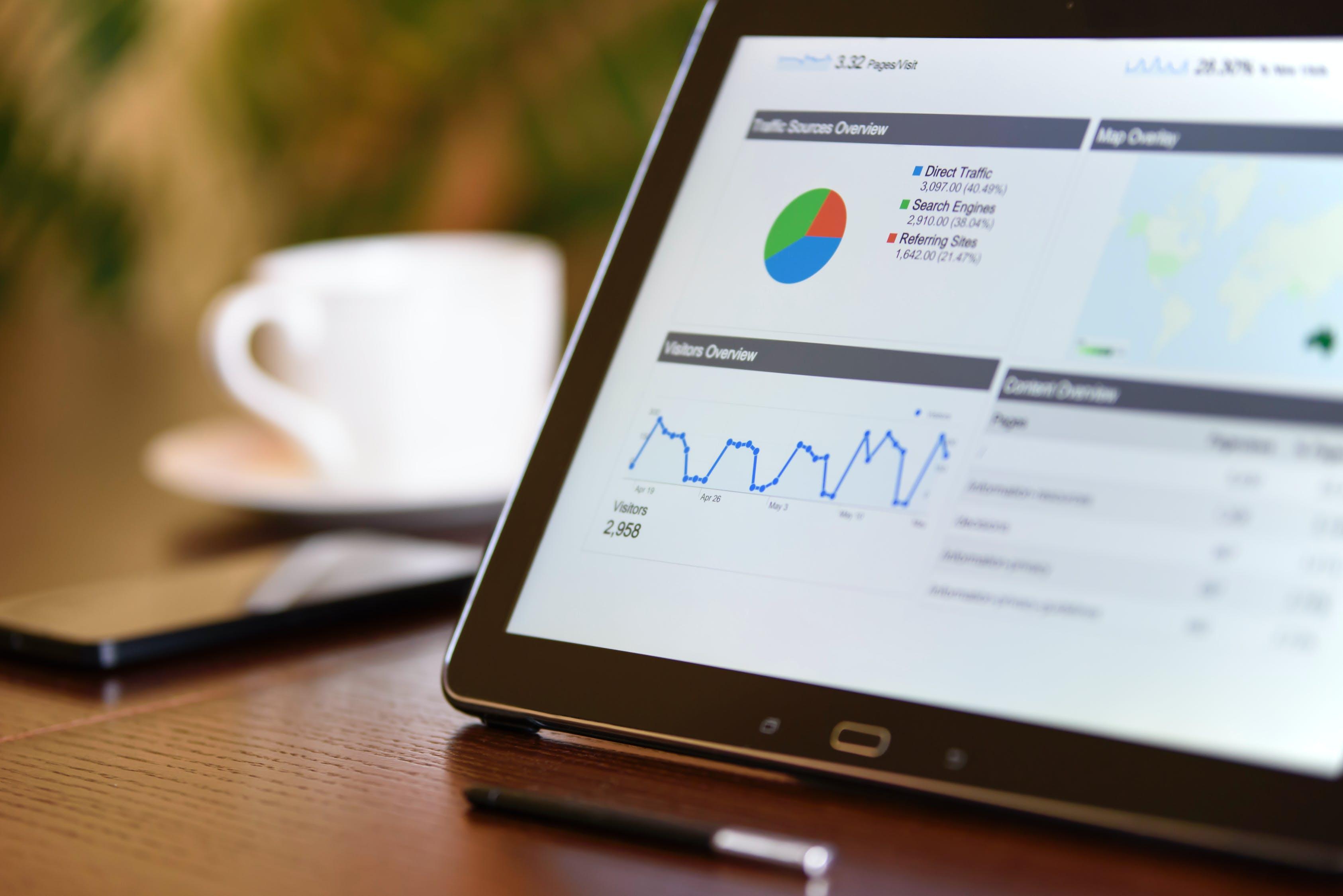 Um tablet em uma mesa mostrando gráficos através de softwares para empresa.