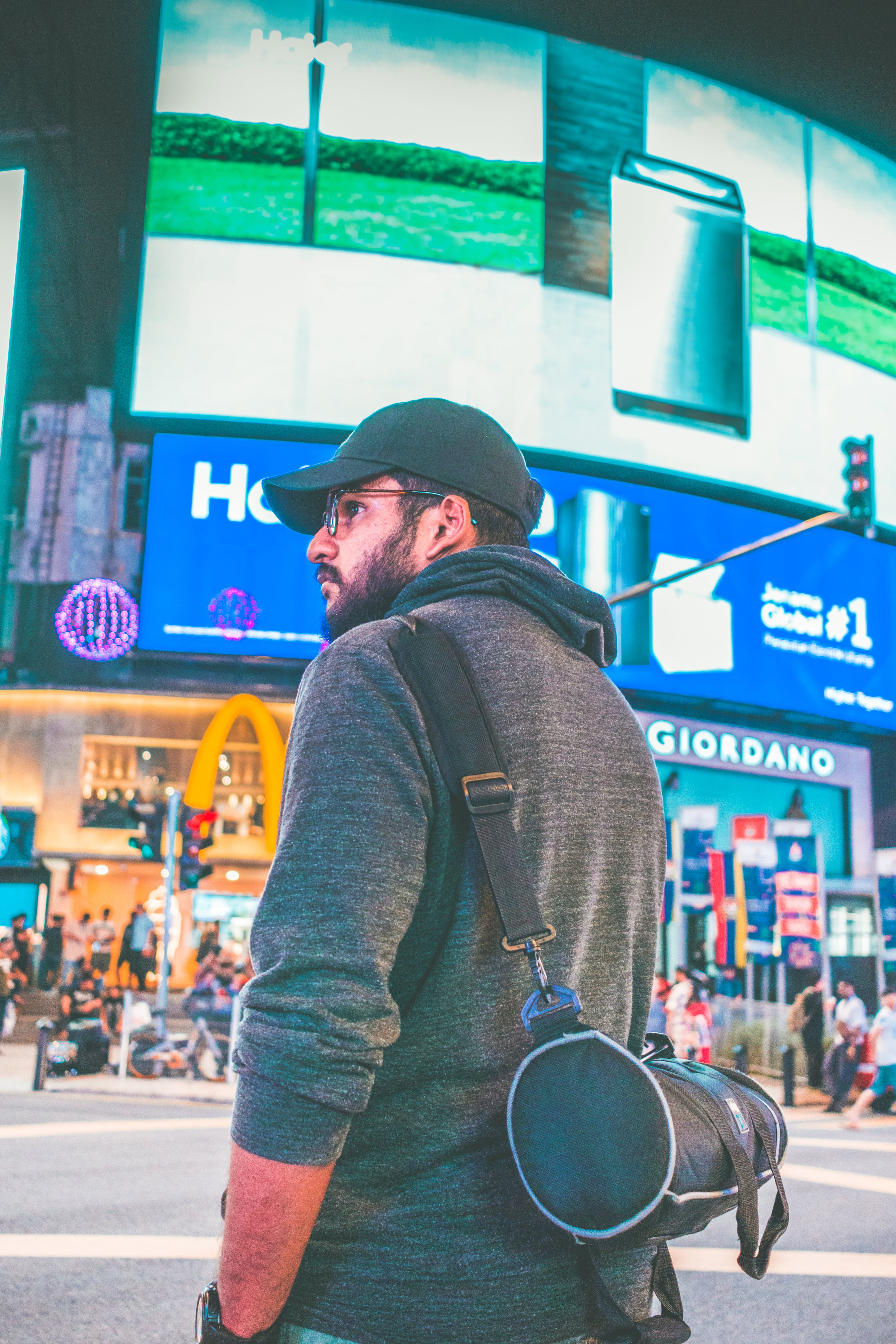 Man Wearing Black Cap