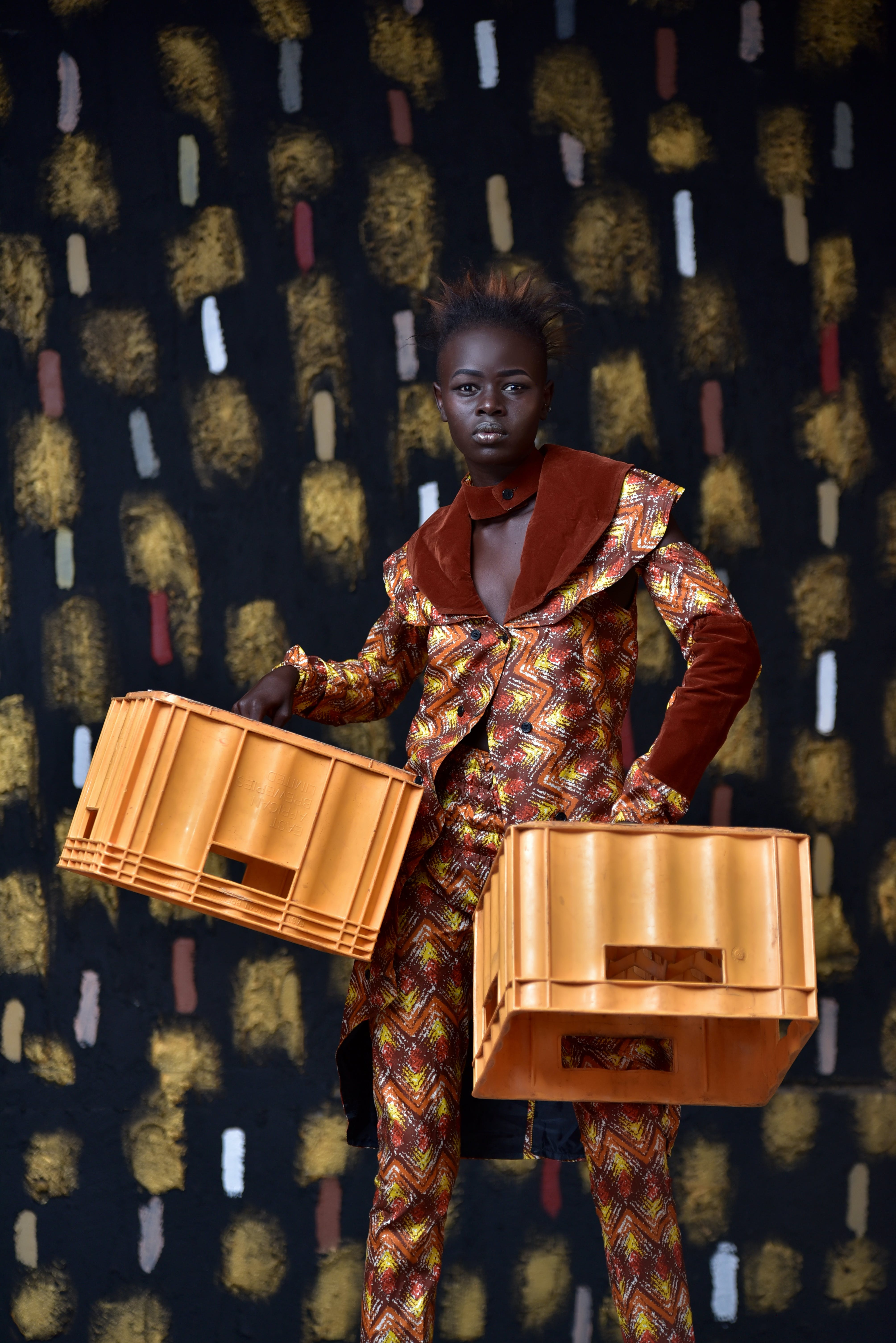 Woman Carrying Crates