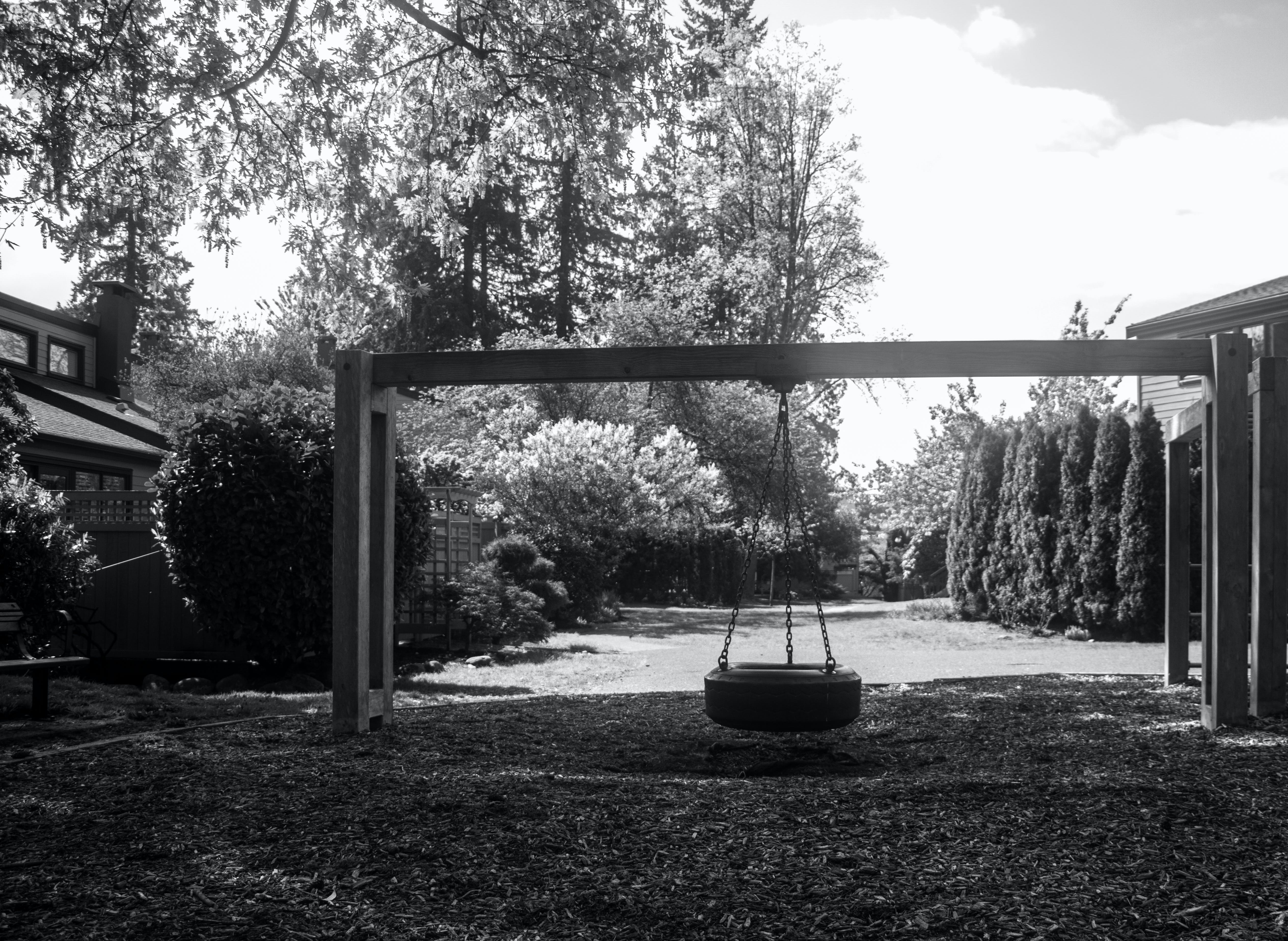 Free stock photo of black and white, black and-white, swing, swinging