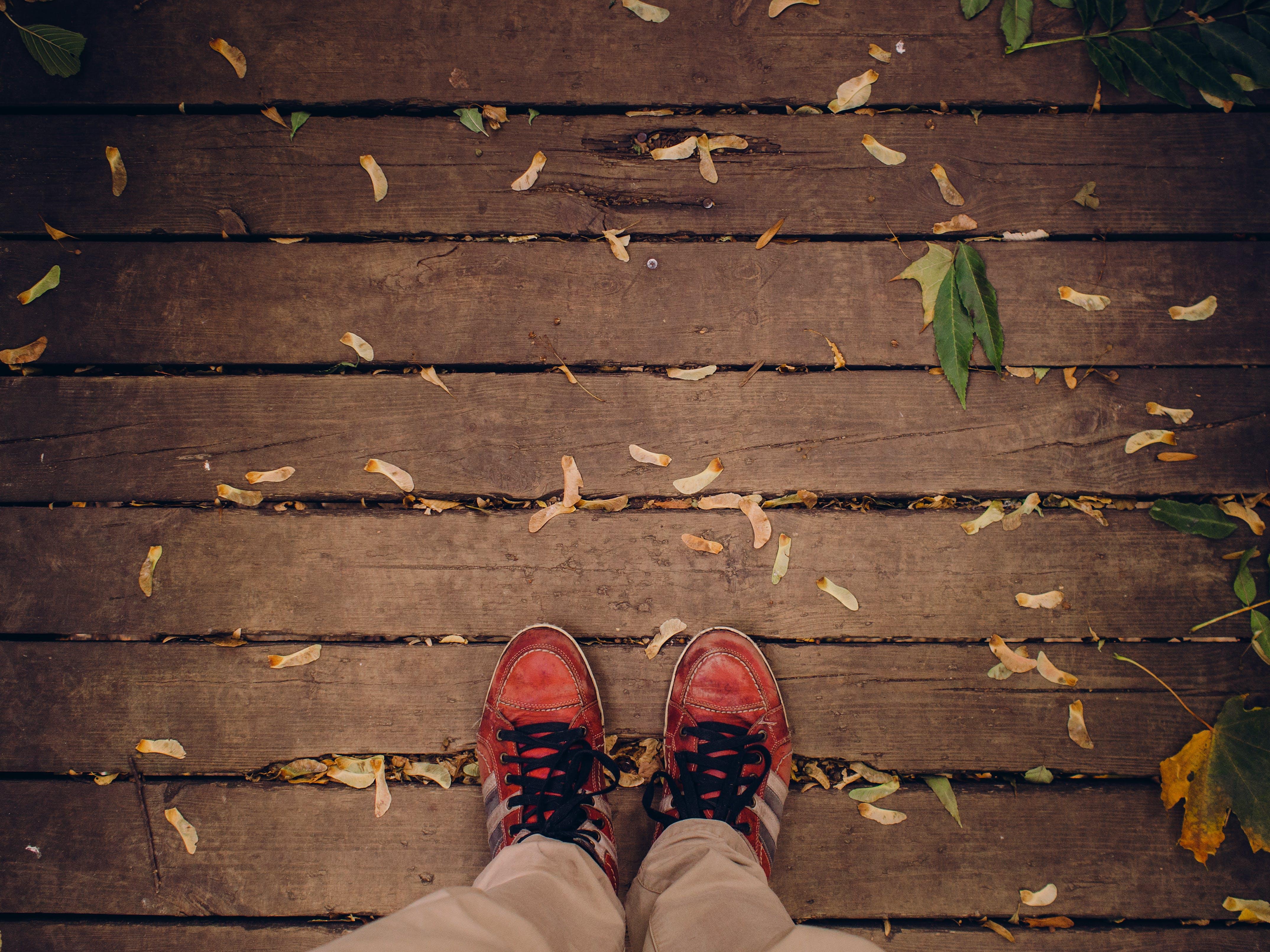 Kostenloses Stock Foto zu draußen, fernweh, füße, herbst