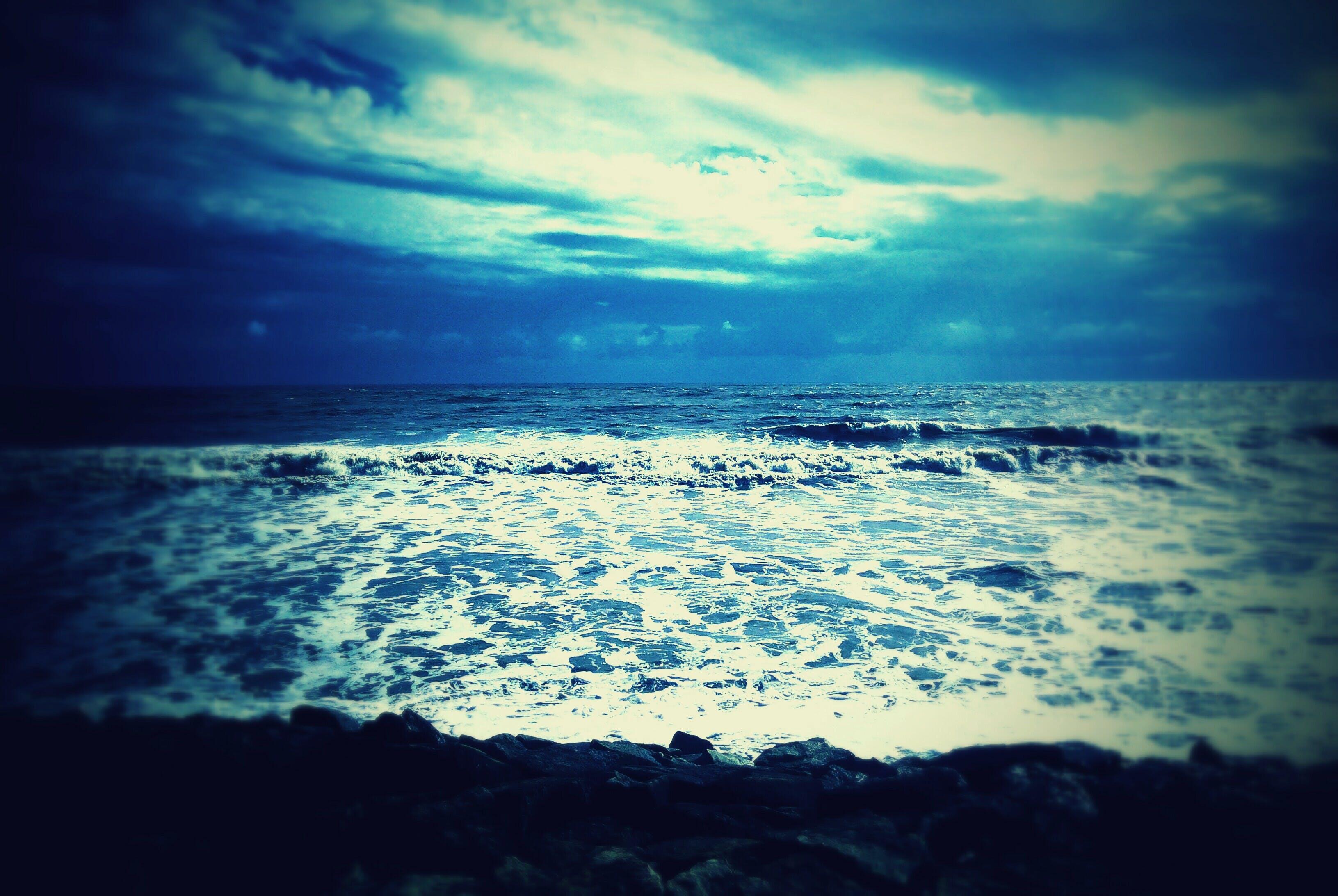 Základová fotografie zdarma na téma horizont, mávání, modrá, moře