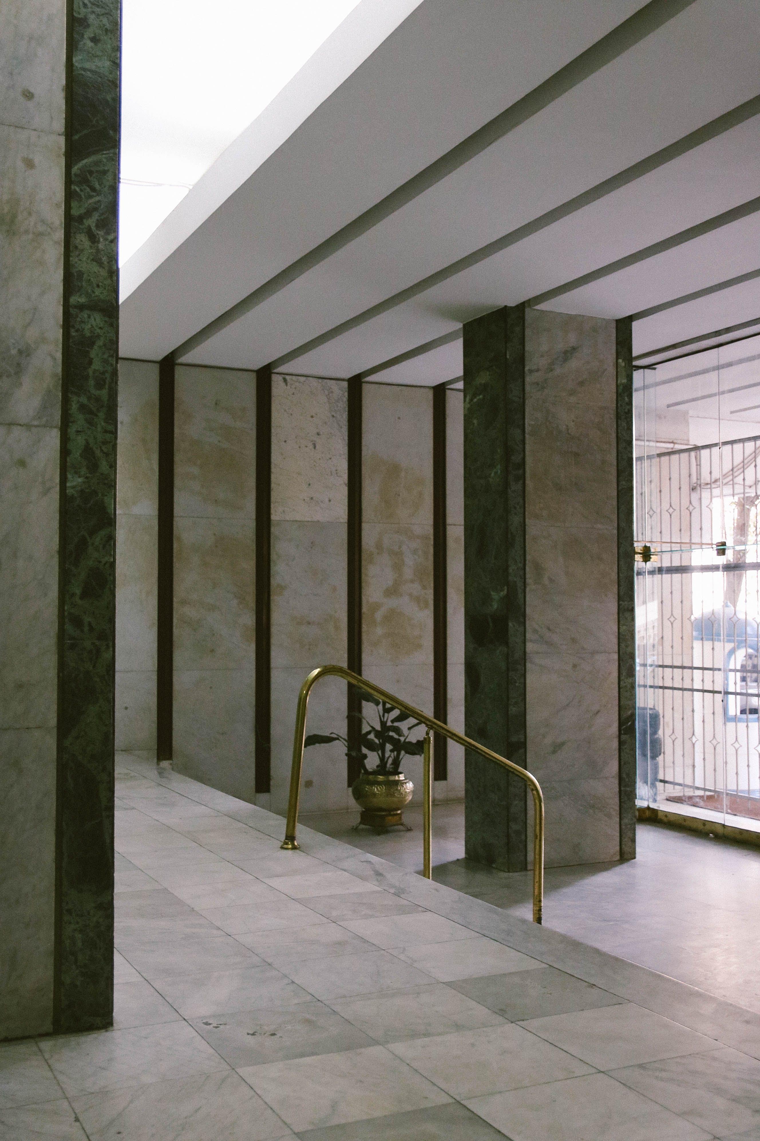 Free stock photo of copper, copper handrail, entrance, hallway