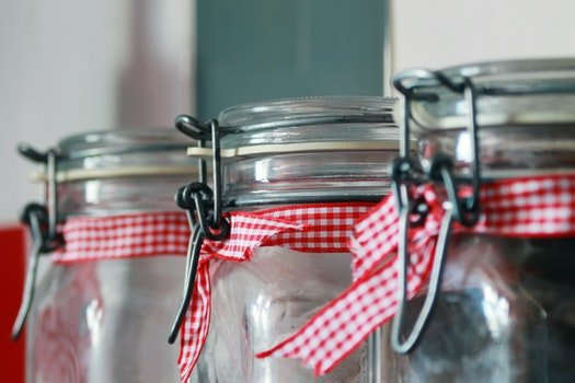 Clear Glass Mason Jar With Red White Ribbon