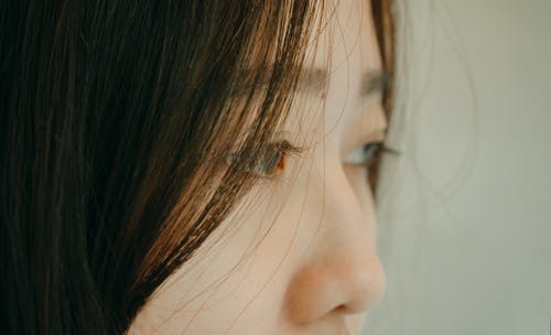Close-up Photography of Woman's Eyes and Nose