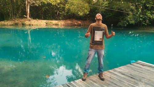 Free stock photo of blue lagoon, blue water, boy, fresh water