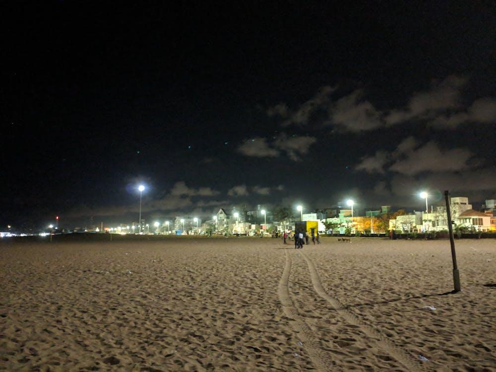 ciel, lumières, lumières de la ville